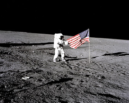 Apollo 12 Charles 'Pete' Conrad & Flag Moon Photo Print