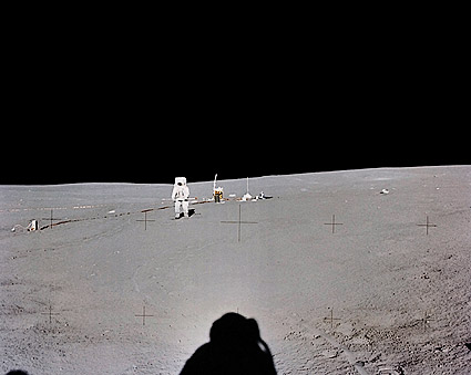 Apollo 14 Edgar Mitchell at Distance Moon Photo Print