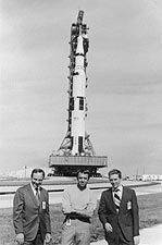 Apollo 14 Mitchell, Shepard, Roosa with Saturn V Photo Print for Sale