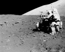 Apollo 15 Astronaut James Irwin with Lunar Roving Vehicle Photo Print for Sale