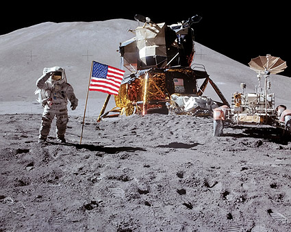 Apollo 15 James Irwin Flag Salute on Moon Photo Print
