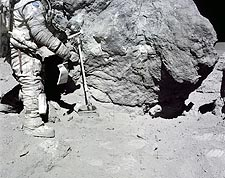 Apollo 16 Astronaut Charles Duke Collects Lunar Sample Photo Print for Sale