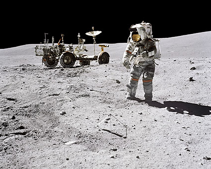 Apollo 16 Astronaut John Young & LRV Moon Photo Print