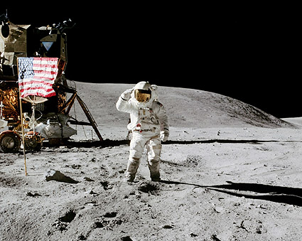 Apollo 16 Charles Duke Salutes Flag on Moon Photo Print