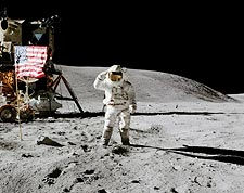 Apollo 16 Charles Duke Salutes Flag on Moon Photo Print for Sale