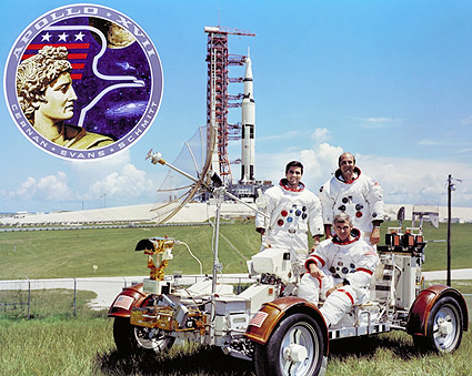 Apollo 17 Crew with Moon Rover & Saturn V Photo Print