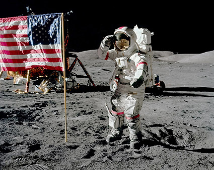 Apollo 17 Eugene Cernan Jump Salute Photo Print