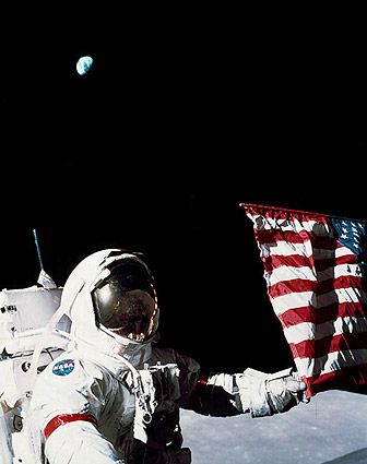 Apollo 17 Eugene Cernan w/ US Flag & Earth Photo Print