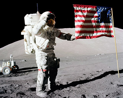 Apollo 17 Gene Cernan Flag Salute on Moon Photo Print