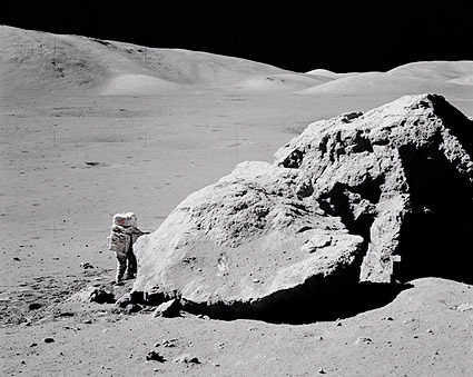Apollo 17 Harrison Schmitt by Moon Boulder Photo Print