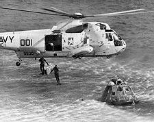 NASA Apollo 17 Helicopter Navy Rescuemen Jumping Photo Print for Sale
