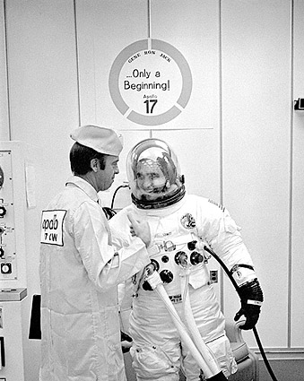 Apollo 17 Schmitt Suit Up w/ Shepard NASA Photo Print