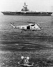 Apollo 17 Recovery USS Ticonderoga & Helicopter Photo Print for Sale