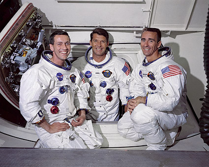 Apollo 7 Crew Portrait in White Room Photo Print