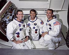 Apollo 7 Crew Portrait in White Room Photo Print for Sale