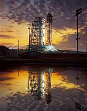 Apollo 8 Saturn V Rocket at Twilight NASA Photo Print for Sale