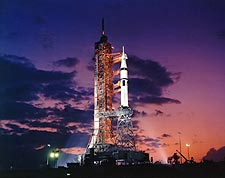 Apollo Soyuz Saturn 1B Rocket at Twilight Photo Print for Sale