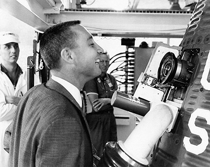 Astronaut Gus Grissom Inspects Mercury Capsule Photo Print