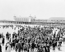 Atlantic City Beach Crowd & Pier NJ 1910 Photo Print