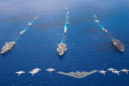 B-2 Bomber & Aircraft Carriers in Exercise Valiant Shield Photo Print