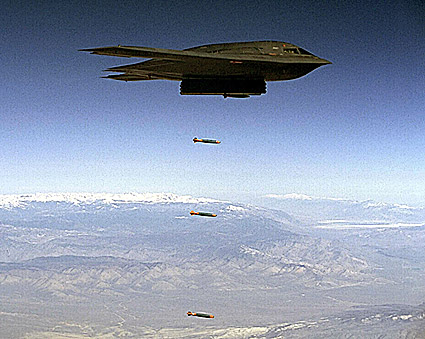 B-2 Spirit Stealth Bomber Dropping Bombs Photo Print