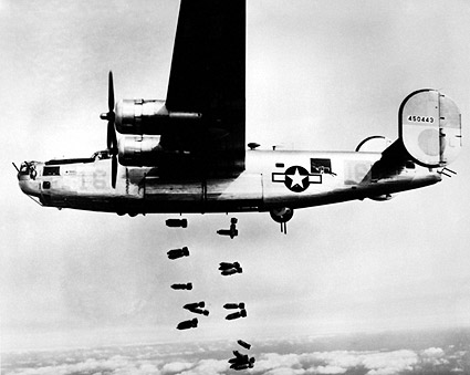 B-24 Liberator Aircraft Drops Bombs WWII Photo Print