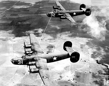 B-24 Liberator Aircraft in Flight WWII Photo Print