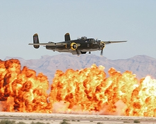 B-25 Mitchell WWII Bomber w/ Wall of Fire Photo Print