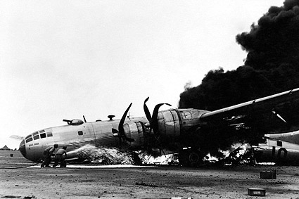 B-29 After Emergency Landing at Iwo Jima WWII Photo Print