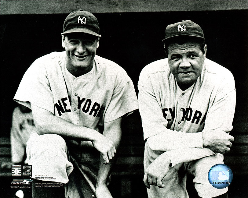 Babe ruth and lou gehrig new york yankees photo print