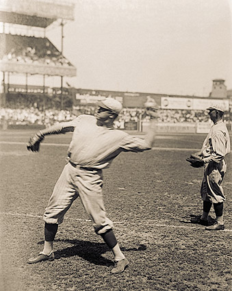 Babe Ruth Throwing Baseball N.Y. Yankees Photo Print