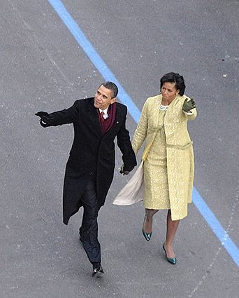 Barack and Michelle Obama at Inaugural Parade Photo Print