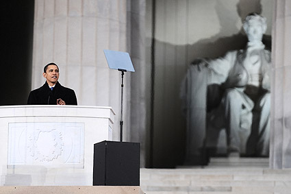 Barack Obama at the Lincoln Memorial in January 2009 Photo Print