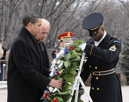 Barack Obama & Joe Biden at Arlington Cemetery 2009 Photo Print