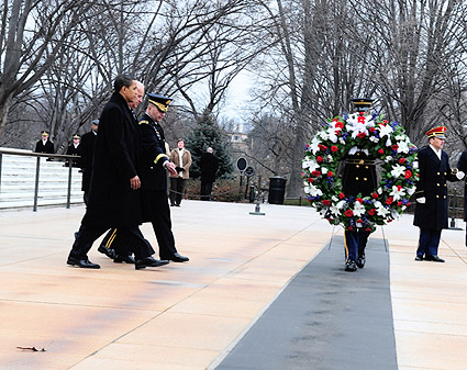 Barack Obama & Joe Biden at Tomb of Unknown Solider 2009 Photo Print