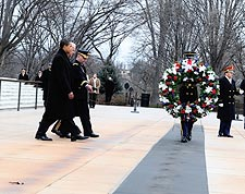 Barack Obama & Joe Biden at Tomb of Unknown Solider 2009 Photo Print for Sale