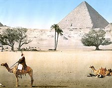 Bedouins & Grand Pyramid in Cairo, Egypt Photo Print for Sale