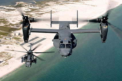 Bell Boeing V-22 Osprey and Sikorsky MH-53 Pave Low Photo Print