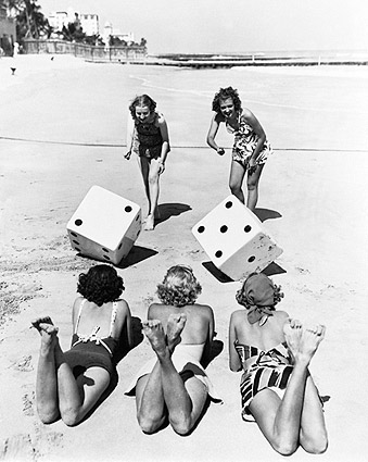 Bikini Beach Girls Roll Dice Lucky Seven Photo Print