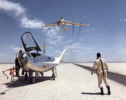 Bill Dana & HL-10 on Lakebed w/ B-52 Flyby Photo Print