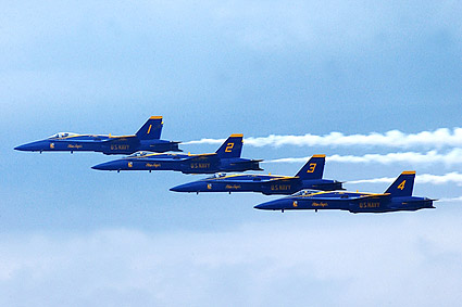 Blue Angels F/A-18 Hornets Fly-By US Navy Photo Print