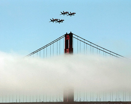 Blue Angels Fly Over Golden Gate Bridge CA Photo Print