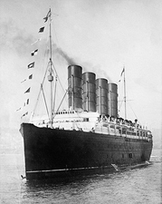 Bow and Portside Lusitania Cruise Ship 1908 Photo Print