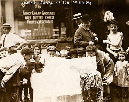 Boys Licking Ice on Hot Summer Day 1912 Photo Print