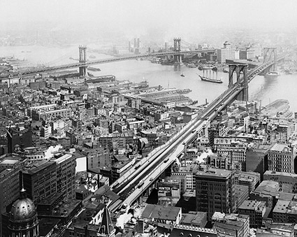 Brooklyn Bridge and Manhattan Bridge New York 1916 Photo Print