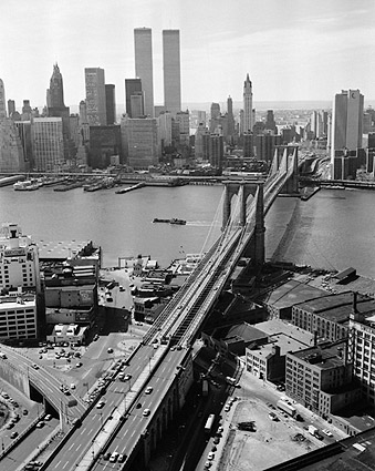Brooklyn Bridge and Manhattan Skyline View 1978 Photo Print