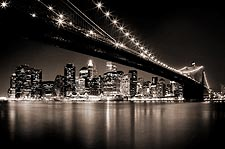 Brooklyn Bridge at Midnight New York City Photo Print for Sale