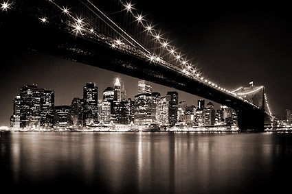 Brooklyn Bridge at Midnight New York City Photo Print