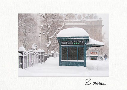 Brooklyn Bridge City Hall Subway Station Personalized Christmas Cards