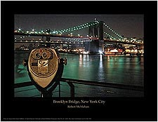 Brooklyn Bridge New York City at Night Mini Poster Print For Sale